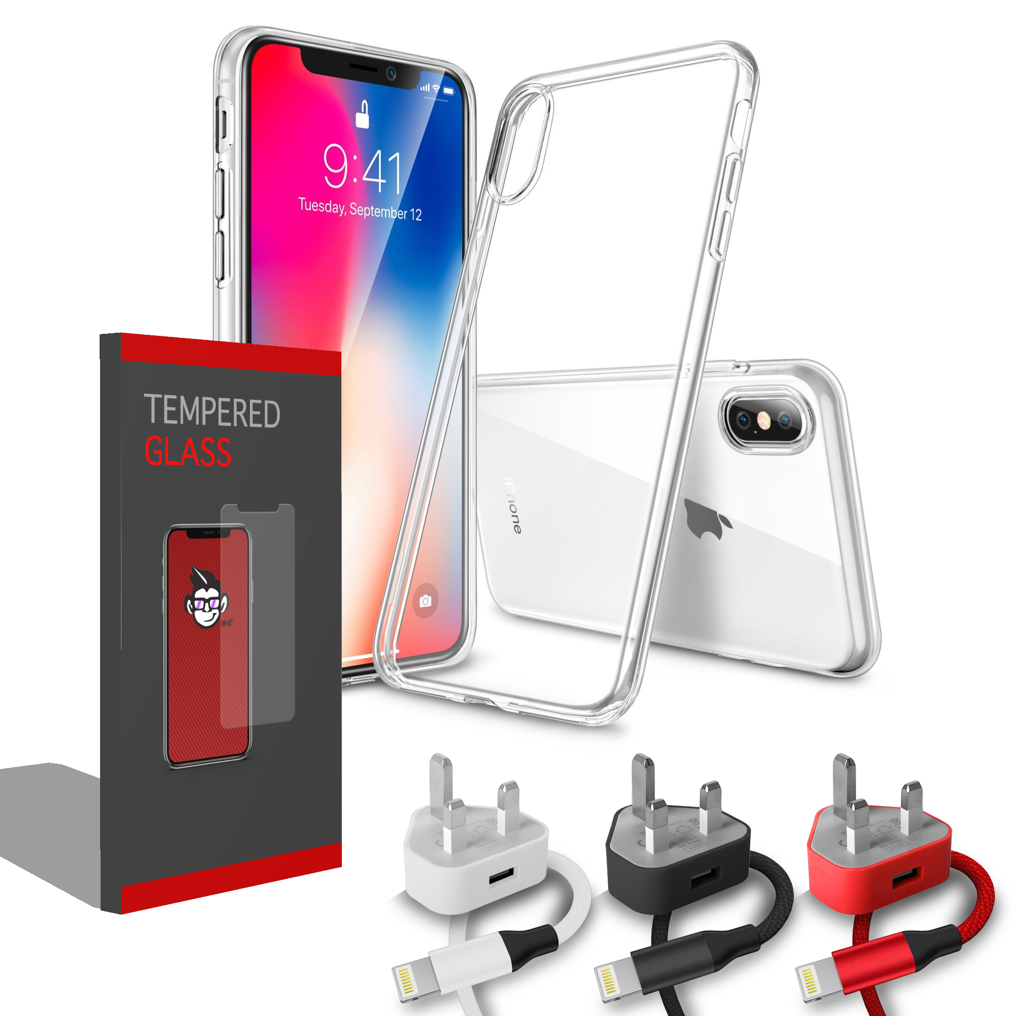 Gel Clear Transparent Case Cover and Case Compatible Clear Tempered Glass  Screen Protector with Charging Pack: UK 1amp 3 Pin Mains Wall Charger Plug